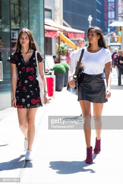 Models Yada Villaret and Rosie Herrera attend casting for the 2017 Victoria's Secret Fashion Show in Midtown on August 17 2017 in New York City