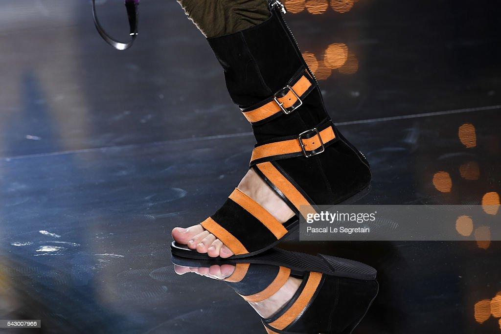 A model,shoe detail, walks the runway during the Balmain Menswear Spring/Summer 2017 show as part of Paris Fashion Week on June 25, 2016 in Paris, France.