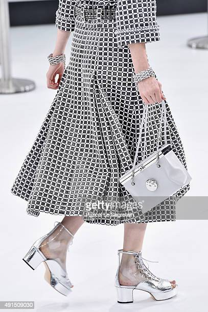 A modelshoe detail walks the runway during the Chanel show as part of the Paris Fashion Week Womenswear Spring/Summer 2016 on October 6 2015 in Paris...