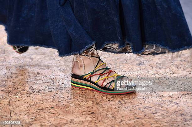 A modelshoe detail walks the runway during the Chloe show as part of the Paris Fashion Week Womenswear Spring/Summer 2016 on October 1 2015 in Paris...