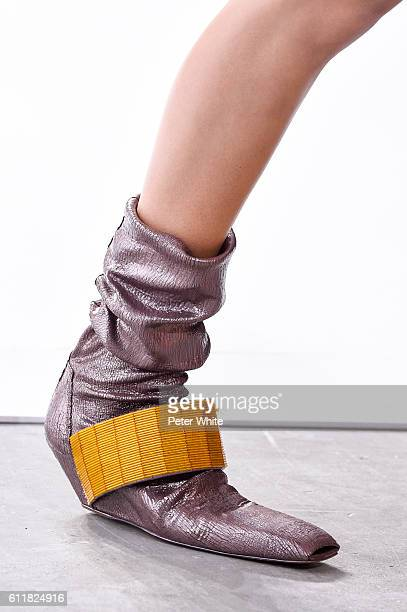A modelshoe detail walks the runway during the Rick Owens show as part of the Paris Fashion Week Womenswear Spring/Summer 2017 on September 29 2016...