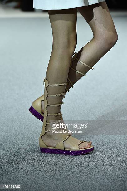 A modelshoes detail walks the runway during the Giambattista Valli show as part of the Paris Fashion Week Womenswear Spring/Summer 2016 on October 5...