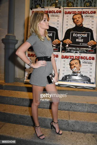 Model/singer Cassandra Foret sister of Jade Lagardere attends the David Desclos One Man Show at Theatre Le Gymnase MarieBell on April 13 2017 in...