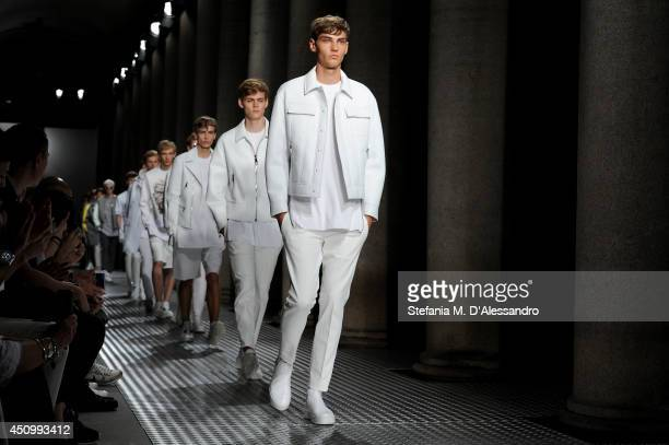 Modelsl walk the runway during the Neil Barrett show as part of Milan Fashion Week Menswear Spring/Summer 2015 on June 21 2014 in Milan Italy