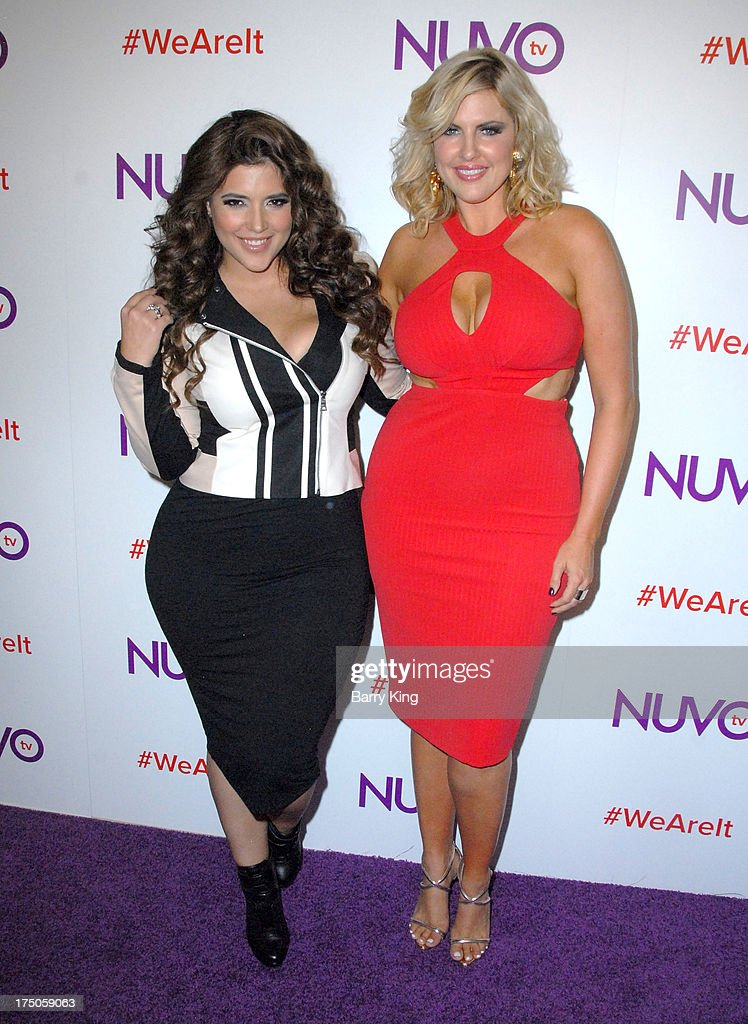 Models/tv personalities Denise Bidot (L) and Ivory May Kalber attend NUVOtv Network launch party at The London West Hollywood on July 16, 2013 in West Hollywood, California.