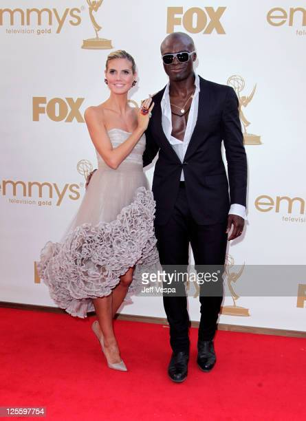 Model/TV host Heidi Klum and singer Seal arrive to the 63rd Primetime Emmy Awards at the Nokia Theatre LA Live on September 18 2011 in Los Angeles...