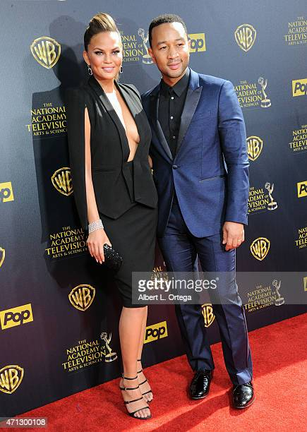 Model/TV personality Chrissy Teigen and musician John Legend arrive for The 42nd Annual Daytime Emmy Awards held at Warner Bros Studios on April 26...