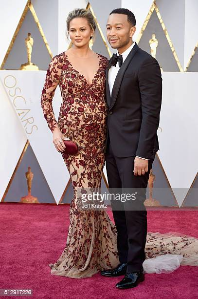 Model/TV personality Chrissy Teigen and musician John Legend attend the 88th Annual Academy Awards at Hollywood Highland Center on February 28 2016...