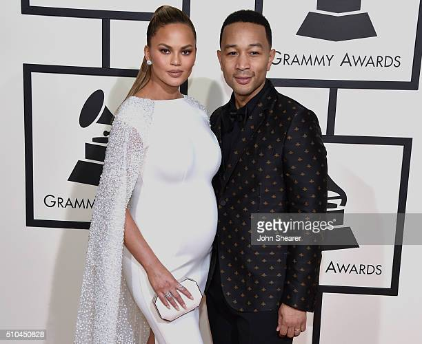Model/TV personality Chrissy Teigen and recording artist John Legend attend The 58th GRAMMY Awards at Staples Center on February 15 2016 in Los...