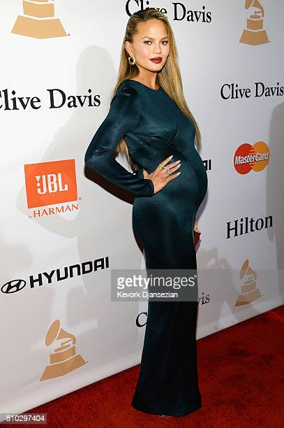 Model/TV personality Chrissy Teigen attends the 2016 PreGRAMMY Gala and Salute to Industry Icons honoring Irving Azoff at The Beverly Hilton Hotel on...