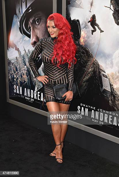 Model/TV personality Eva Marie arrives at the premiere of Warner Bros Pictures' 'San Andreas' at TCL Chinese Theatre on May 26 2015 in Hollywood...