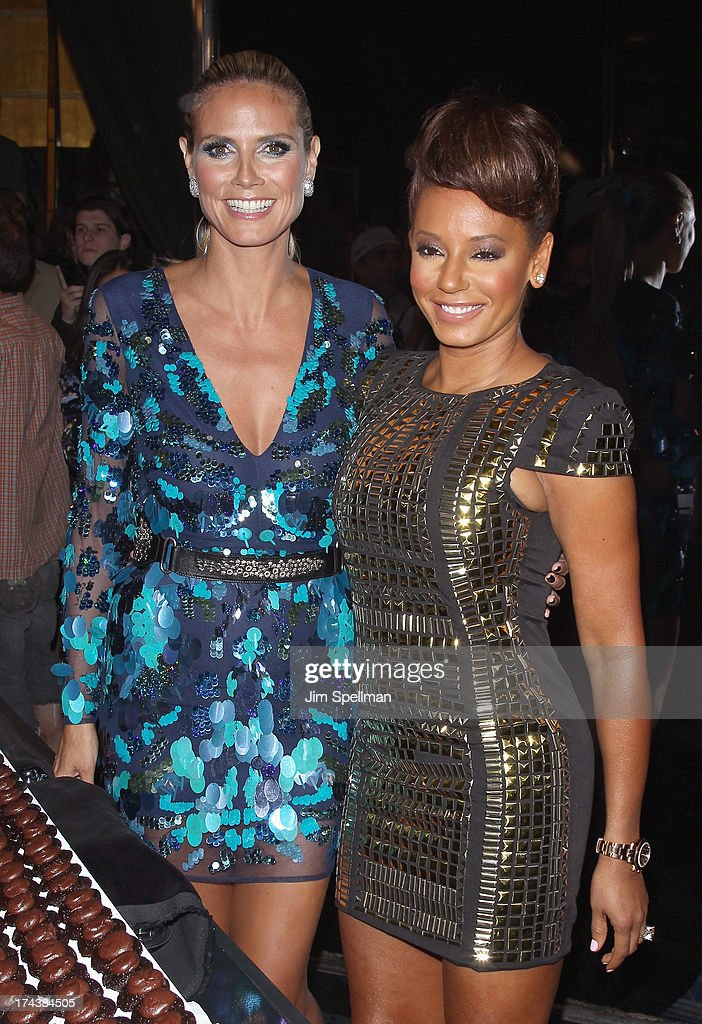 Model/TV personality Heidi Klum and recording artist/TV personality Mel B attend 'Americas Got Talent' Season 8 Post-Show Red Carpet Event at Radio City Music Hall on July 24, 2013 in New York City.