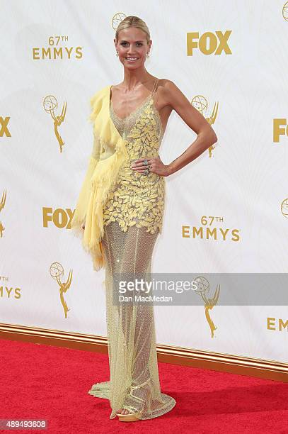 Model/TV personality Heidi Klum arrives at the 67th Annual Primetime Emmy Awards at the Microsoft Theater on September 20 2015 in Los Angeles...