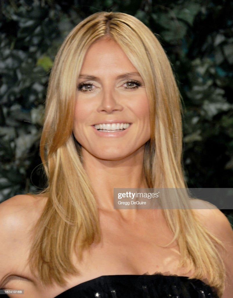 Model/TV personality Heidi Klum arrives at the QVC 'Red Carpet Style' party at Four Seasons Hotel Los Angeles at Beverly Hills on February 22, 2013 in Beverly Hills, California.