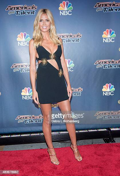 Model/TV personality Heidi Klum attends the 'America's Got Talent' preshow red carpet arrivals at Radio City Music Hall on August 11 2015 in New York...