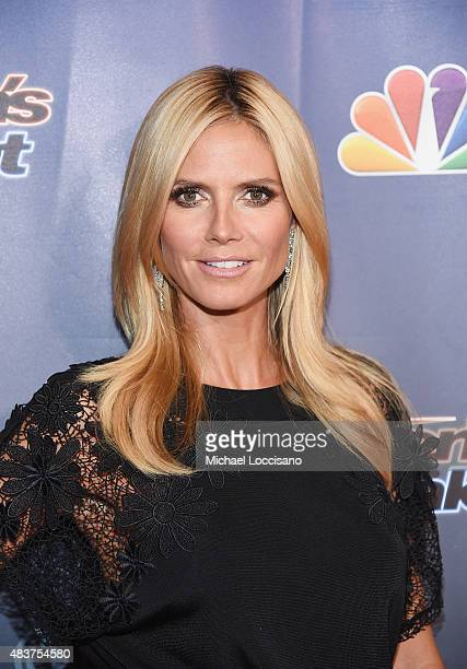 Model/TV personality Heidi Klum attends the 'America's Got Talent' season 10 taping at Radio City Music Hall at Radio City Music Hall on August 12...