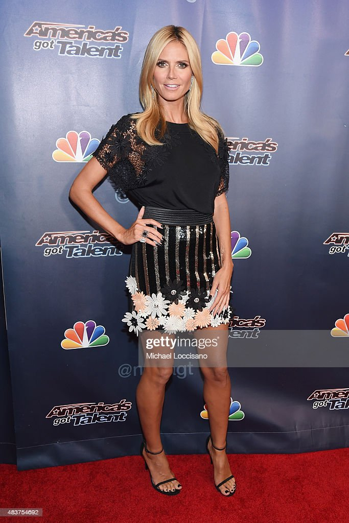 Model/TV personality <a gi-track='captionPersonalityLinkClicked' href=/galleries/search?phrase=Heidi+Klum&family=editorial&specificpeople=178954 ng-click='$event.stopPropagation()'>Heidi Klum</a> attends the 'America's Got Talent' season 10 taping at Radio City Music Hall at Radio City Music Hall on August 12, 2015 in New York City.