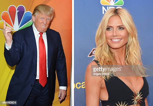 In this composite image a comparison has been made between Donald Trump and Heidi Klum NEW YORK NY AUGUST 11 Model/TV personality Heidi Klum attends...