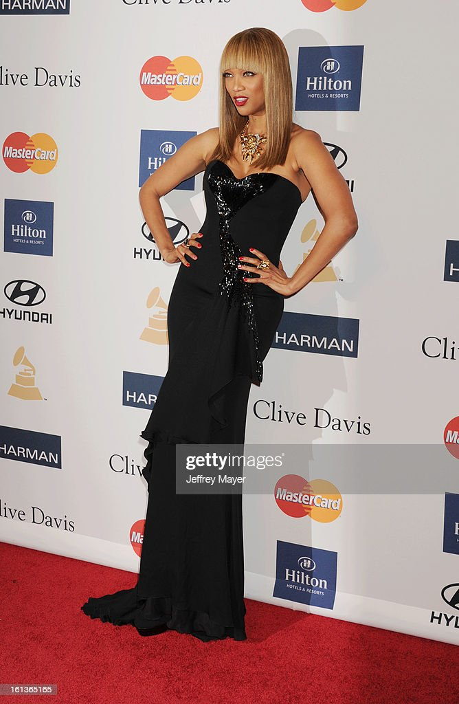 Model/TV Personality Tyra Banks arrives at the The 55th Annual GRAMMY Awards - Pre-GRAMMY Gala And Salute To Industry Icons Honoring L.A. Reid at the Beverly Hilton Hotel on February 9, 2013 in Los Angeles, California.