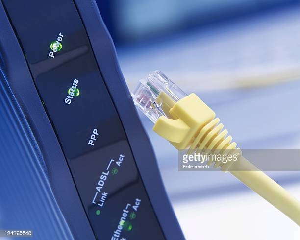 Modem and Cable, Close Up, Differential Focus, In Focus, Out Focus,