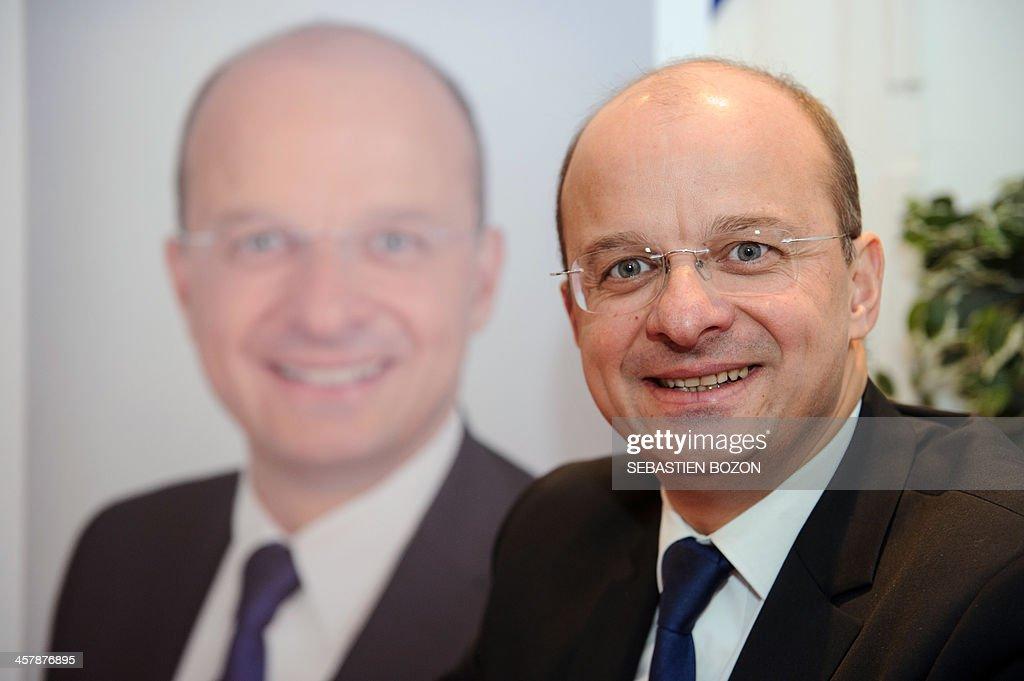 MoDem centrist party's candidate for the 2014 municipal elections in Belfort, Christophe Grudler poses on December 19, 2013 in Belfort, eastern France. AFP PHOTO / SEBASTIEN BOZON