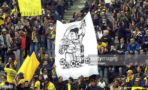 Modena fans watch the action during the Serie A match between Bologna and Modena played at the Renato dall' Ara Stadium Bologna Italy on December 1...