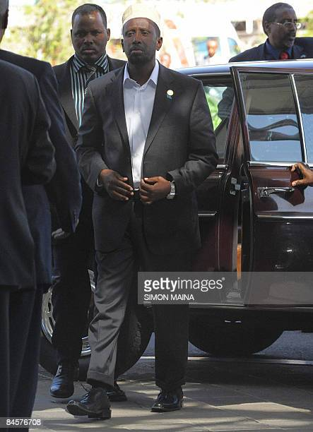 Moderate Islamist leader Sheikh Sharif Sheikh Ahmed the newly elected president of Somalia arrives at the UN compound for a consultative 01 February...