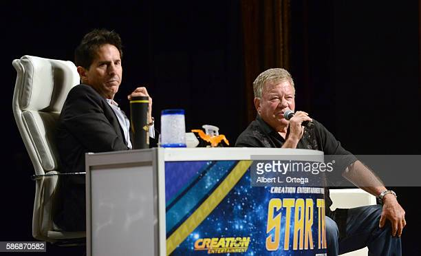 Moderator Adam Malin of Creation Entertainment and actor William Shatner on day 4 of Creation Entertainment's Official Star Trek 50th Anniversary...
