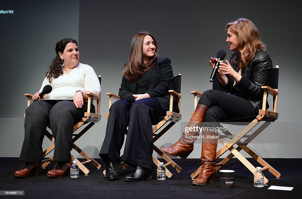 Moderator Anastasia Tsioulcas, classical pianist Simone Dinnerstein and singer-songwriter <a gi-track='captionPersonalityLinkClicked' href=/galleries/search?phrase=Tift+Merritt&family=editorial&specificpeople=4950355 ng-click='$event.stopPropagation()'>Tift Merritt</a> attend Meet the Musicians at the Apple Store Soho on March 29, 2013 in New York City.