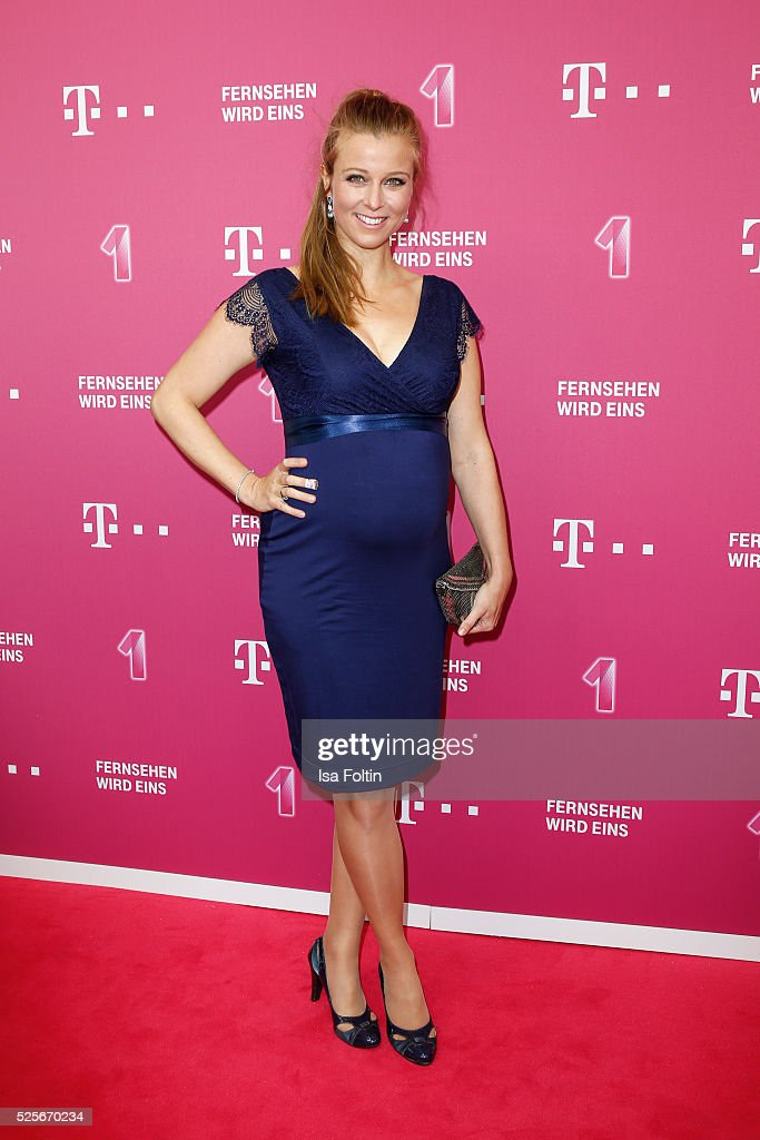 Moderator and actress Nina Eichinger with pregnant tummy attends the Telekom Entertain TV Night at Hotel Zoo on April 28, 2016 in Berlin, Germany.