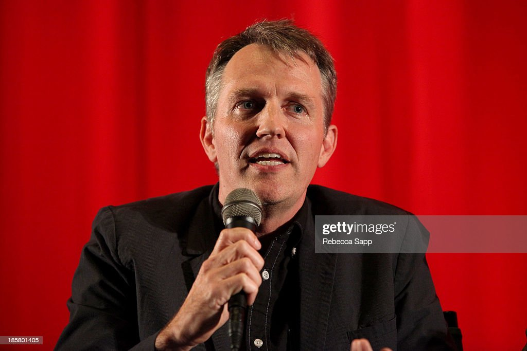 Moderator and co-founder of Flux Jonathan Wells during a Q&A session at Hulu Presents The LA Premiere Of 'Behind the Mask' at the Vista Theatre on October 24, 2013 in Los Angeles, California.