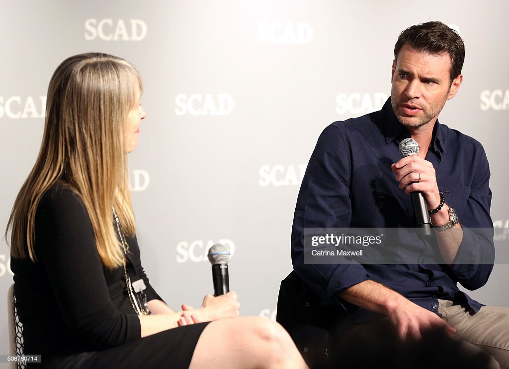 Moderator Andra Reeve Rabb and actor <a gi-track='captionPersonalityLinkClicked' href=/galleries/search?phrase=Scott+Foley&family=editorial&specificpeople=615795 ng-click='$event.stopPropagation()'>Scott Foley</a> speak on stage during 'Behind The Lens: ShondaLand' panel during aTVfest 2016 presented by SCAD on February 6, 2016 in Atlanta, Georgia.