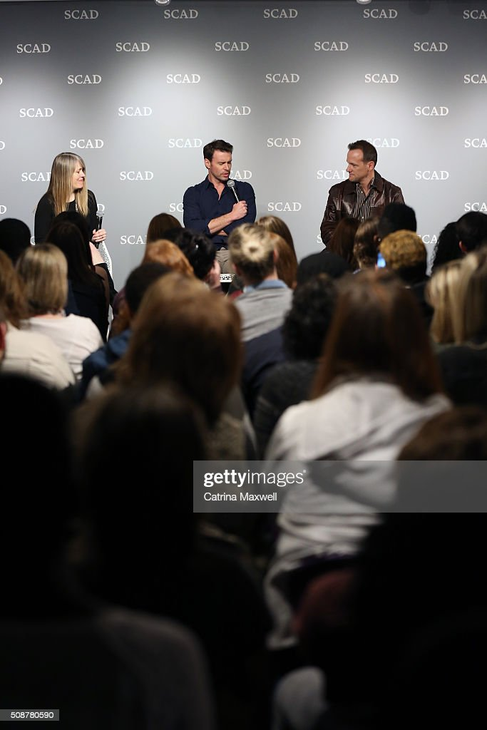 Moderator Andra Reeve Rabb and actors <a gi-track='captionPersonalityLinkClicked' href=/galleries/search?phrase=Scott+Foley&family=editorial&specificpeople=615795 ng-click='$event.stopPropagation()'>Scott Foley</a> and Tom Verica speak on stage during 'Behind The Lens: ShondaLand' panel during aTVfest 2016 presented by SCAD on February 6, 2016 in Atlanta, Georgia.