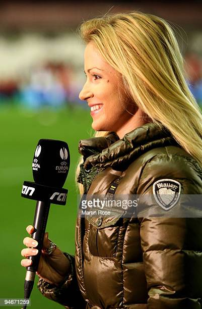TV moderator Andrea Kaiser of Sat1 poses before the UEFA Europa League Group L match between Atletico Bilbao and Werder Bremen at the Estadio San...