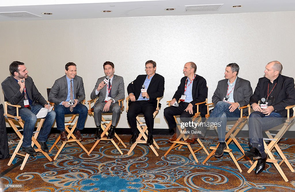 Moderator Andrew Stewart, Reporter, Variety, Tom Quinn, Co-President, RADiUS-TWC, Jason Janego, Co-President, RADiUS-TWC, Jamie McCabe, EVP, VOD & Digital HD, Worldwide, Twentieth Century Fox, Todd Green, General Manager, Tribeca Film, Rob Sussman, EVP, Business Operations, Development, and Strategy, EPIX, and Daniel Solnicki, Head of Worldwide Franchise Development, Dreamworks Animation speak onstage during the The New Distribution Formula panel at the Future Of Film Summit: Finding Success In The Digital Age Produced By Variety And Digital Media Wire at Sofitel Hotel on December 5, 2012 in Los Angeles, California.