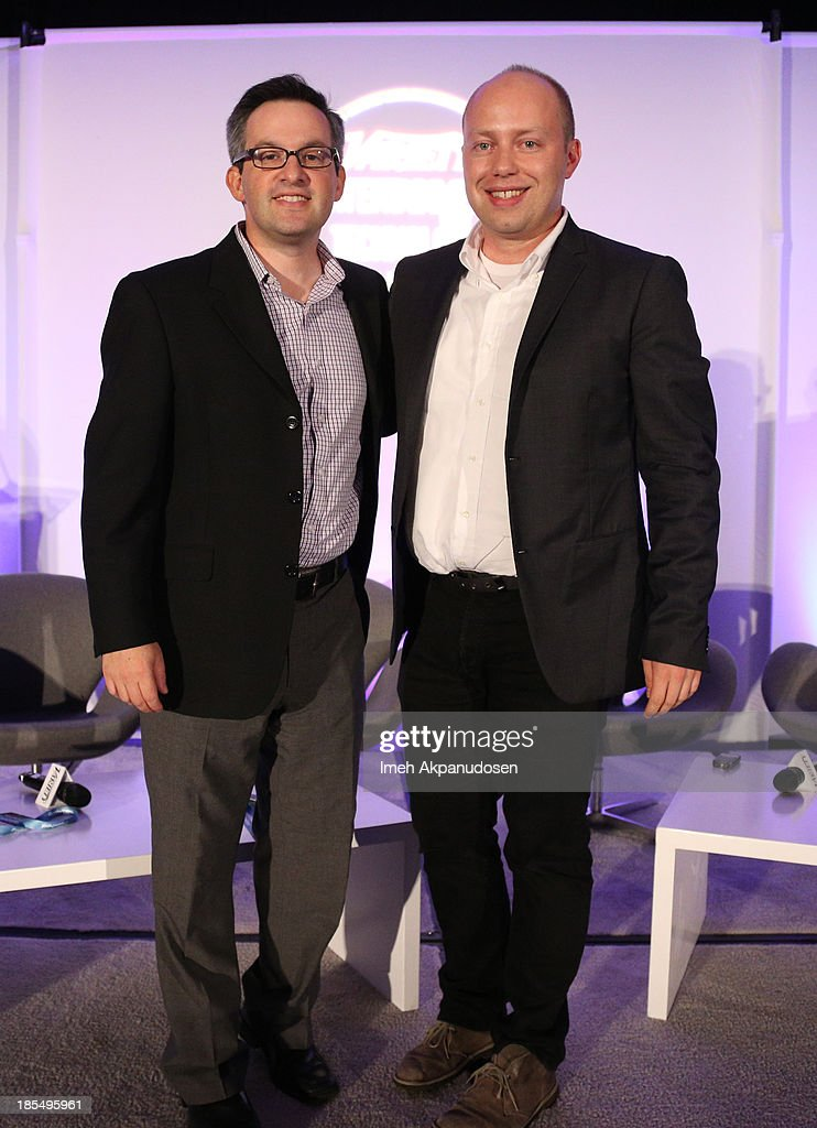 Moderator Andrew Wallenstein Editor in Chief Digital Variety (L) and Charles Porch, Strategic Partnerships Music & Entertainment Facebook onstage during 'A Conversation With Facebook' at speaks onstage during the Variety Entertainment and Technology Summit at Ritz Carlton Hotel on October 21, 2013 in Marina del Rey, California.