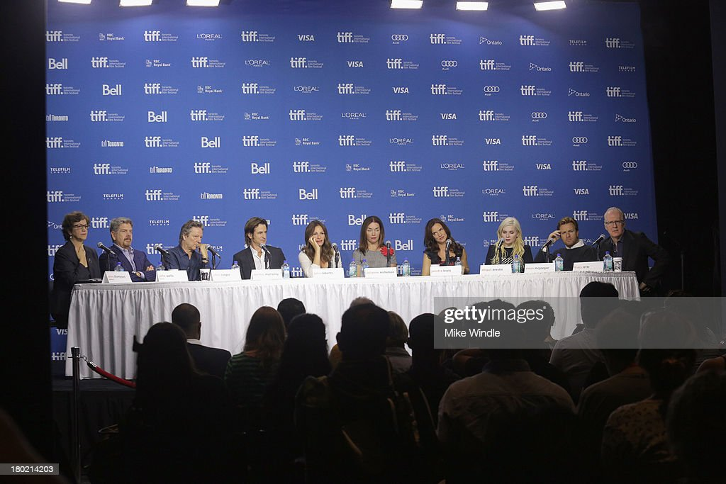 Moderator Anne Thompson, director John Wells, actor Chris Cooper, actor Dermot Mulroney, actress Julia Roberts, actress Julianne Nicholson, actress Juliette Lewis, actress Abigail Breslin, actor Ewan McGregor and screenwriter Tracy Letts speak onstage at 'August: Osage County' Press Conference during the 2013 Toronto International Film Festival at TIFF Bell Lightbox on September 10, 2013 in Toronto, Canada.