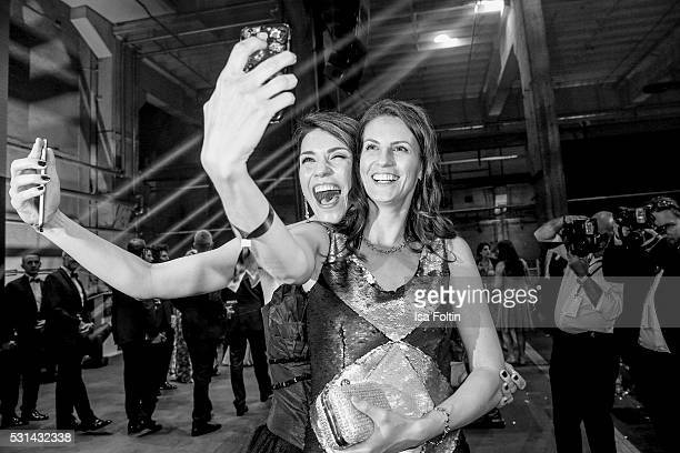 Moderator Annett Moeller and actress Katrin Wrobel make a selfie during the Duftstars 2016 After Show Party at Kraftwerk Mitte on May 12 2016 in...