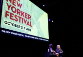 Moderator Ariel Levy speaks with singer Lucinda Williams at Coversations with Music at The New Yorker Festival at Acura at SIR Stage37 on October 6...