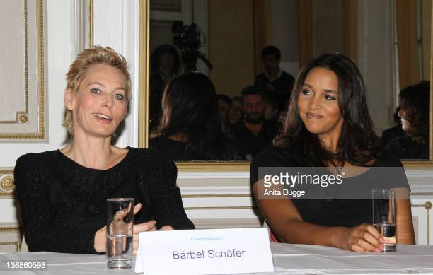 TV moderator Baerbel Schaefer and singer Cassandra Steen attend the Weight Watchers round table press conference on January 12 2012 in Berlin Germany