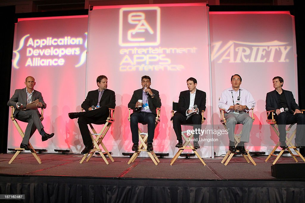 Moderator Brent Weinstein, Head of Digital Media, UTA, David Jones, EVP, Marketing, Shazam, Ian Aaron, CEO, ConnecTV, Scott Levine, VP, Video Product, Univision Interactive, Michael Yang, Partner, Comcast Ventures and Hardie Tankersley, VP, Platforms and Innovation, Fox Broadcasting Company, participate in the Social Viewing Apps: Companion or Competition panel at Variety's Entertainment Apps Conference in Association with Application Developers Alliance at Sheraton Hotel on November 29, 2012 in Universal City, California.