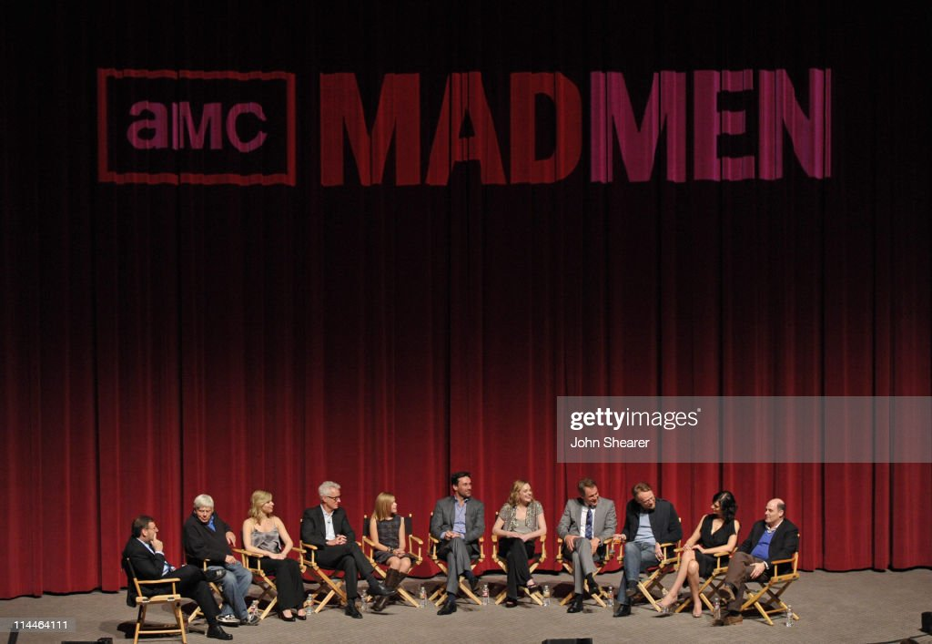 Moderator Brian Lowry, Actors Robert Morse, Cara Buono, John Slattery, Kiernan Shipka, Jon Hamm, Elisabeth Moss, Mark Moses, Jared Harris, Jessica Paré, and writer Matthew Weiner on stage at the 'Mad Men' ATAS Screening at Leonard Goldenson Theatre on May 18, 2011 in North Hollywood, California.
