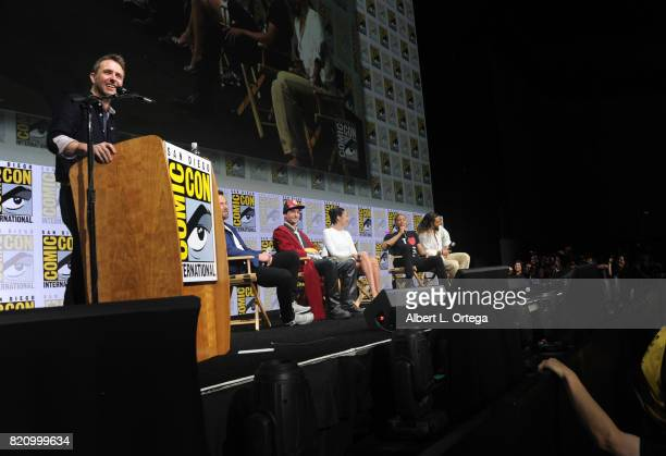 Moderator Chris Hardwick actors Ben Affleck Ezra Miller Gal Gadot Ray Fisher and Jason Momoa from 'Justice League' attend the Warner Bros Pictures...