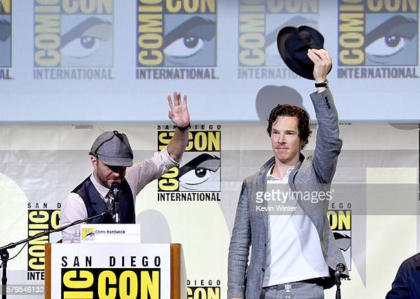 Moderator Chris Hardwick and actor Benedict Cumberbatch attend the 'Sherlock' panel during ComicCon International 2016 at San Diego Convention Center...