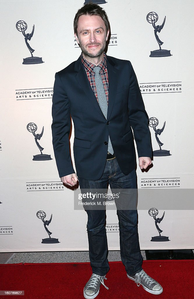 Moderator <a gi-track='captionPersonalityLinkClicked' href=/galleries/search?phrase=Chris+Hardwick&family=editorial&specificpeople=960855 ng-click='$event.stopPropagation()'>Chris Hardwick</a> attends The Academy Of Television Arts & Sciences Presents An Evening With 'The Walking Dead' at the Leonard H. Goldenson Theatre on February 5, 2013 in North Hollywood, California.