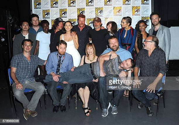 Moderator Chris Hardwick poses with producers David Alpert Scott M Gimple and Gale Anne Hurd writer/producer Robert Kirkman and producer/director...