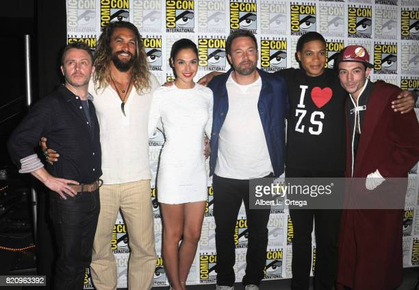 Moderator Chris Hardwick with actors Jason Momoa Gal Gadot Ben Affleck Ray Fisher and Ezra Miller from 'Justice League' attend the Warner Bros...
