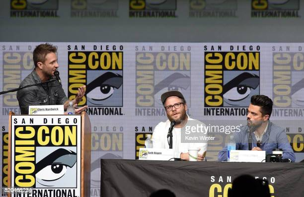 Moderator Chris Hardwick writer/producer/director Seth Rogen and actor Dominic Cooper speak onstage at ComicCon International 2017 AMC's 'Preacher'...