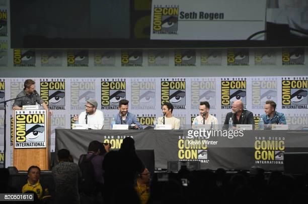 Moderator Chris Hardwick writer/producer/director Seth Rogen and actors Dominic Cooper Ruth Negga Joseph Gilgun Graham McTavish and Ian Colletti...
