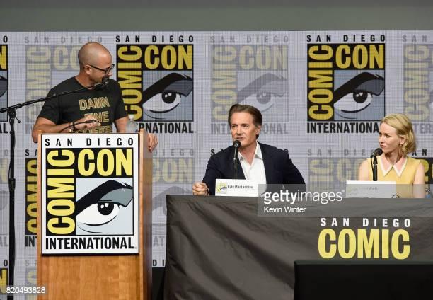 Moderator Damon Lindelof actors Kyle MacLachlan and Naomi Watts attend 'Twin Peaks A Damn Good Panel' during ComicCon International 2017 at San Diego...